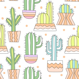 Cute cactus cartoon seamless pattern