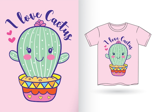 Cute cactus cartoon for t shirt