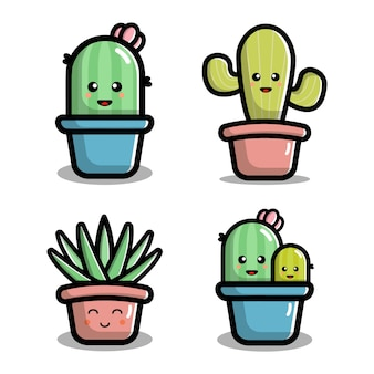 Cute cactus character vector illustration