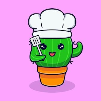 Симпатичный кактус-повар готов к кулинарии. плоский мультфильм