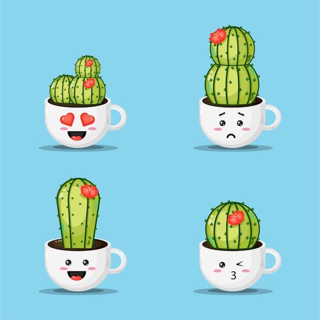 Cute cactus in a coffee cup pot