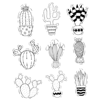 Cute cactus collection with doodle or sketch style