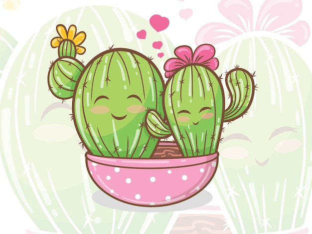 Cute cactus couple cartoon character illustration