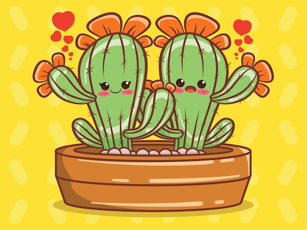 Cute cactus couple cartoon character and illustration.