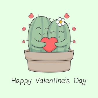 ハートバレンタインデーを保持しているかわいいサボテンのカップル