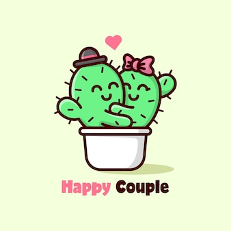 Милая пара кактусов обнимает друг друга и чувствует себя прекрасно