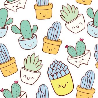 Cute cactus doodle cartoon seamless pattern