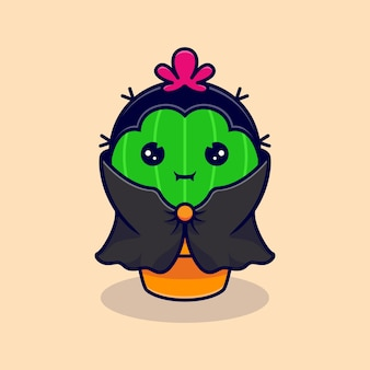 Cute cactus dracula wearing dark cloak. flat cartoon