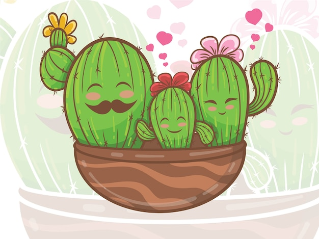 Cute cactus family cartoon character illustration