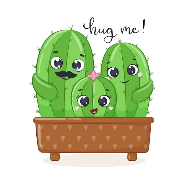 Cute cactus family iilustration.