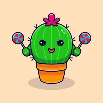 Милый кактус, держащий леденцы на палочке. плоский мультфильм