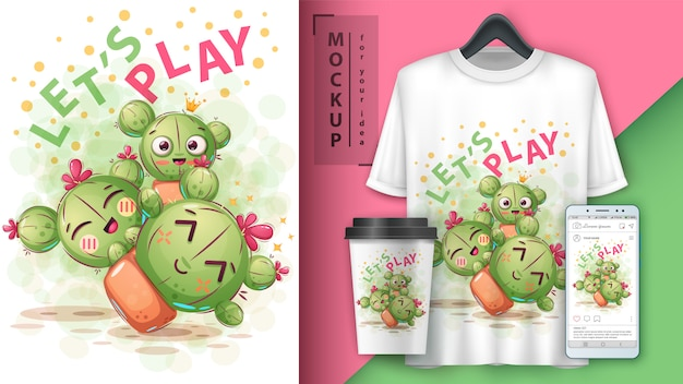 Cute cactus illustration and merchandising