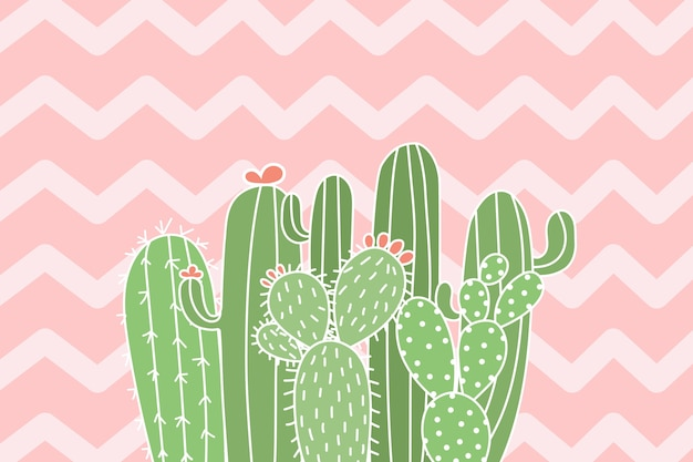 Cute cactus illustration on zigzag background.