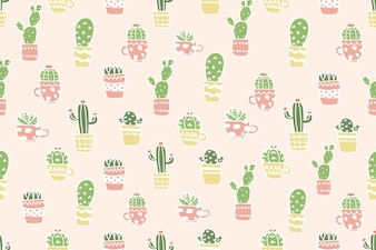 Cute cactus in pot pattern background.