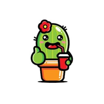 소다를 마시고있는 귀여운 선인장