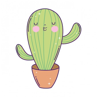 Cute cactus kawaii character