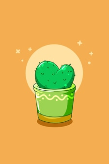 Cute cactus plant cartoon illustration