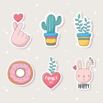 Cute cactus plant rabbit donut and heart stuff for cards stickers or patches decoration cartoon