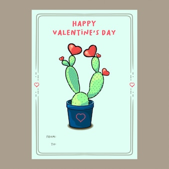 Cute cactus plant with hearts valentine card