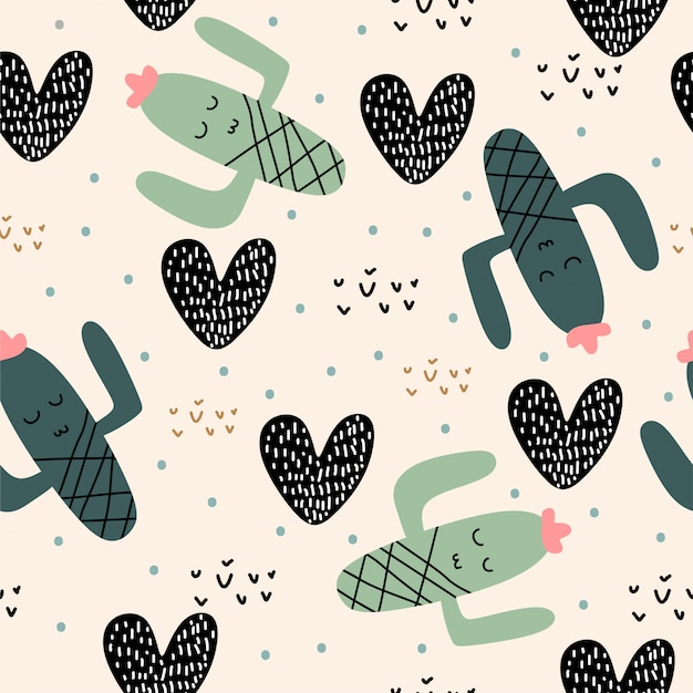 Cute cactus plants seamless pattern with children drawing for baby and kids apparel fashion Premium Vector