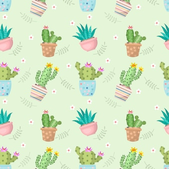 Cute cactus in pot seamless pattern.