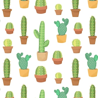 Cute cactus in pot seamless pattern