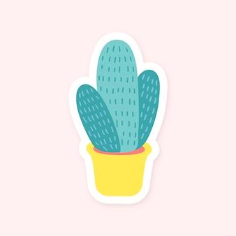 Adesivo carino cactus in vaso