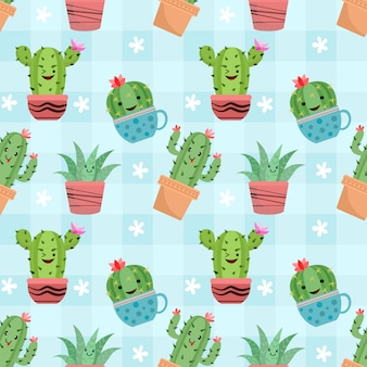 Cute cactus in pots seamless pattern.