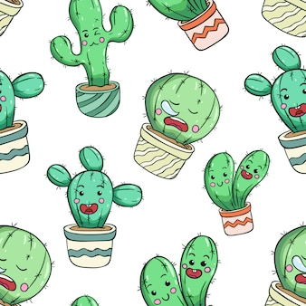 Cute cactus in seamless pattern with funny face