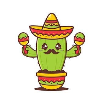 Cute cactus waring sombrero with maracas