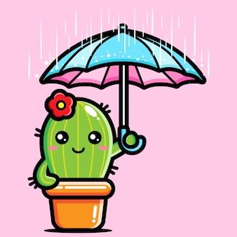 Милый кактус в зонтике во время дождя