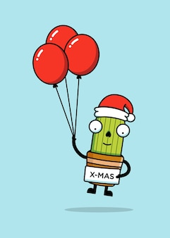 Cute cactus with christmas hat holding balloons