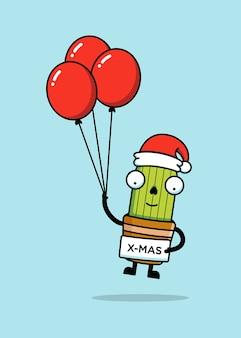 Милый кактус в новогодней шапке с воздушными шарами