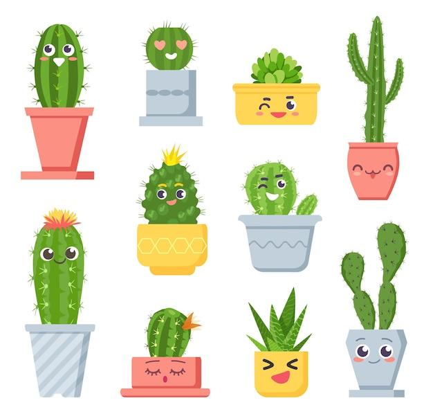 Милый кактус с лицами. герои мультфильмов сочные горшечные растения с эмодзи. улыбаясь тропических кактусов смешное лицо в набор векторных цветочные горшки. комнатное растение и цветочный горшок, ботанические кактусы, экзотическая иллюстрация