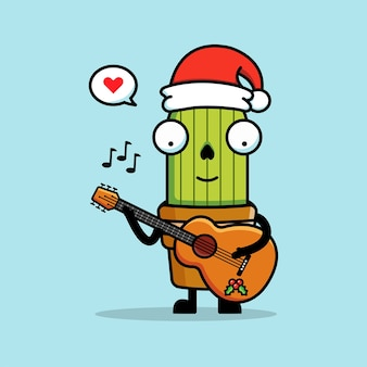 Cute cactus with his guitar and santa's hat