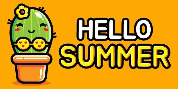 여름 인사말 배너와 귀여운 선인장