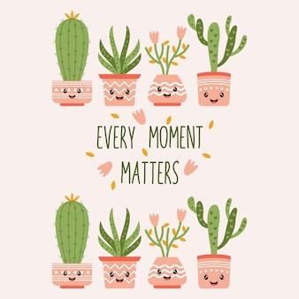 Cute cactus word quote vector illustration