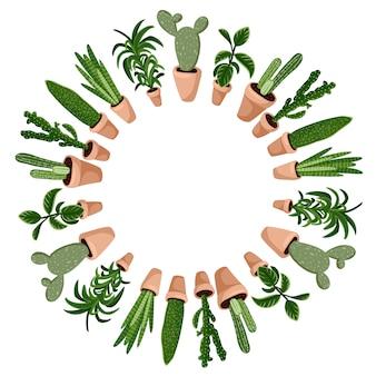 Симпатичные кактусы в мультяшном стиле венок ornamenrt дизайн. набор hygge горшечных суккулентных растений. уютная коллекция растений в скандинавском стиле лагом
