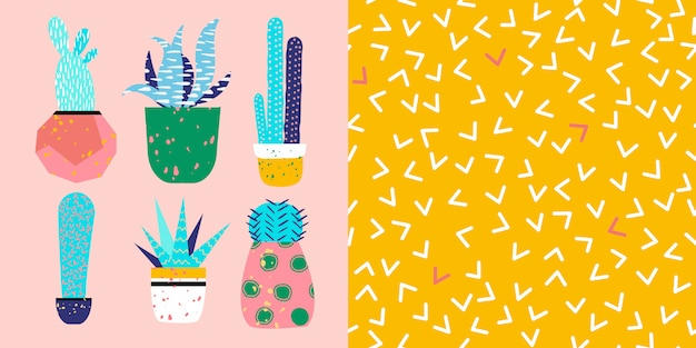 Cute cactuses illustration and pattern idea