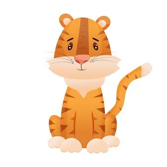 Cute cacute cartoon tiger cub. the symbol of the year 2022. vector illustrationrtoon tiger cub. the symbol of the year 2022. vector illustration