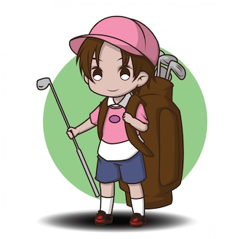 Cute caddy cartoon character.