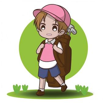 Cute caddy cartoon character