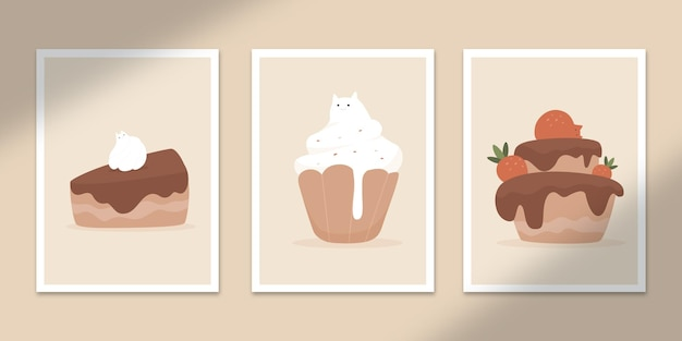 Cute cake cat abstract posters art hand drawn shapes covers set collection for wall print decor