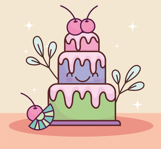 Милый торт фрукты вкусный мультфильм
