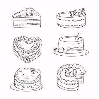 白い背景のかわいいケーキ手描き落書きスケッチ。ケーキステッカーコレクション線画のセットです。