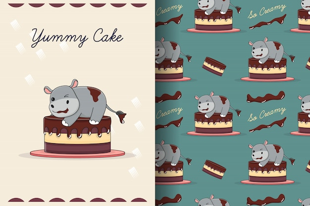 Cute cake hippo seamless pattern and card