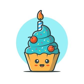 Cute cake mascot vector