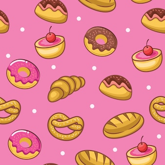 Cute cake and pastries seamless pattern