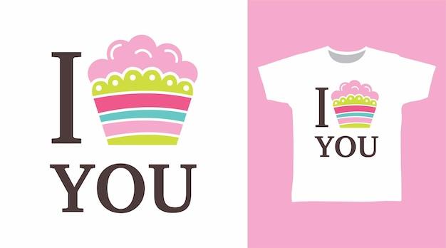 티셔츠 디자인을 위한 타이포그래피가 있는 귀여운 케이크