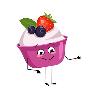 Cute cake or yogurt character with joyful emotions smile face happy eyes arms